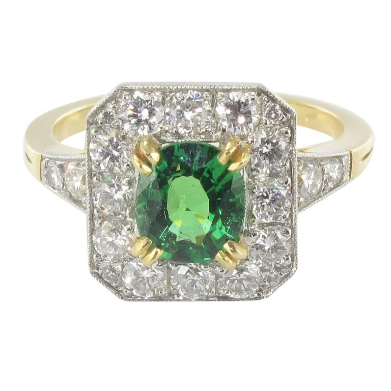 New Demantoid Garnet Diamond Platinum Gold Ring  1