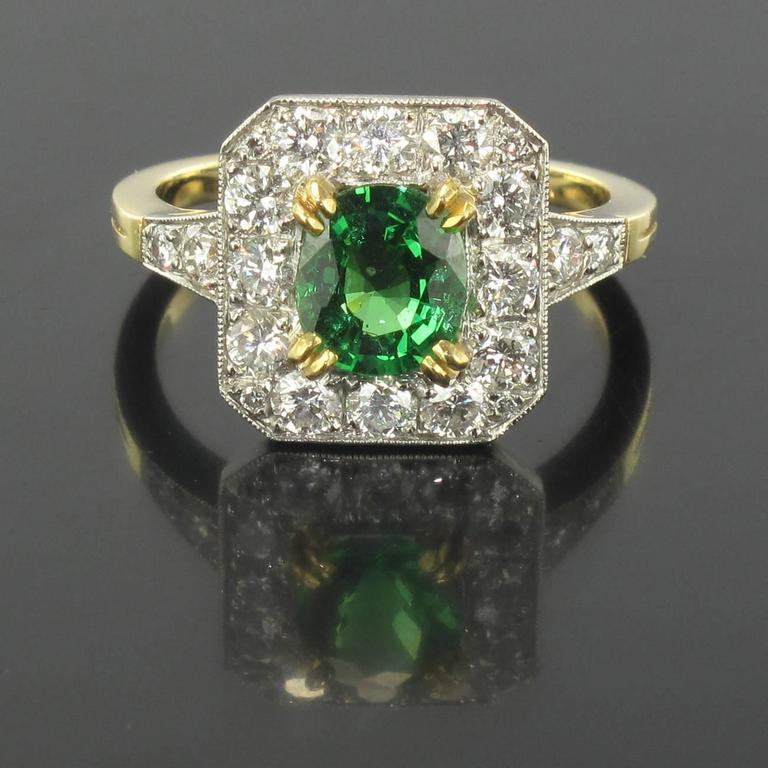 New Demantoid Garnet Diamond Platinum Gold Ring  2