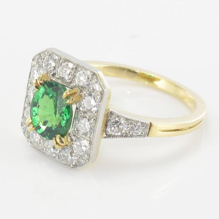 New Demantoid Garnet Diamond Platinum Gold Ring  4