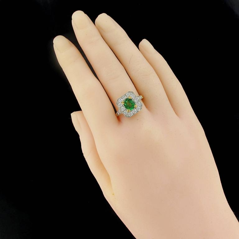 New Demantoid Garnet Diamond Platinum Gold Ring  3