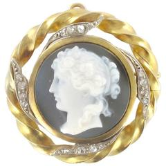 Cameo Diamond Gold Brooch Pendant