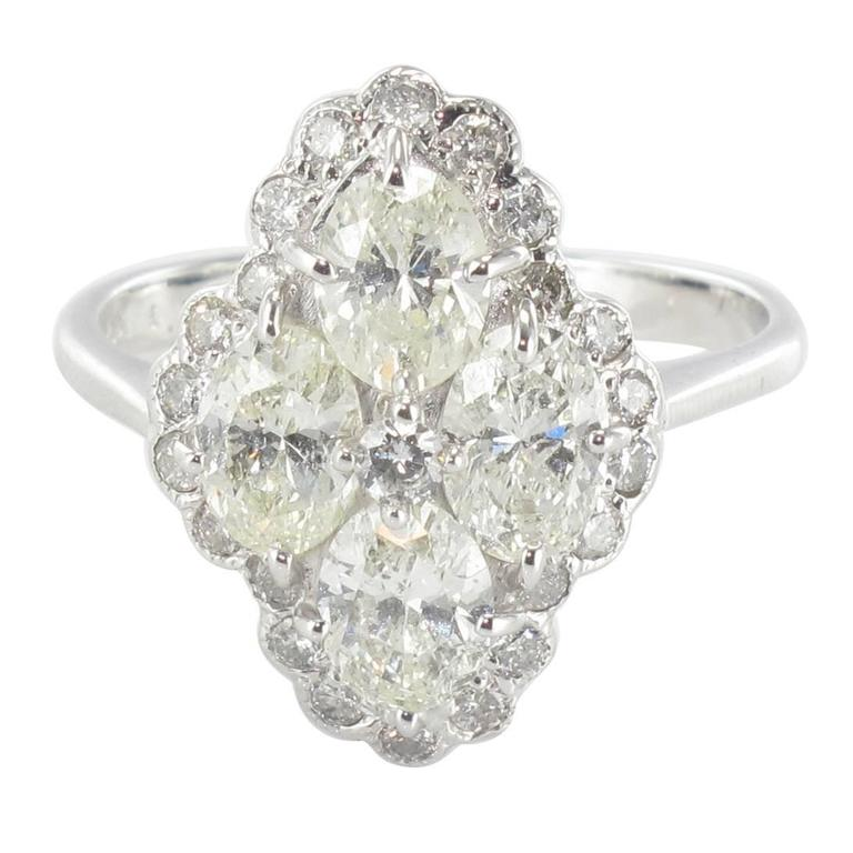 New French Modern Marquise 2.05 Carat Diamond 18 Karat White Gold Ring