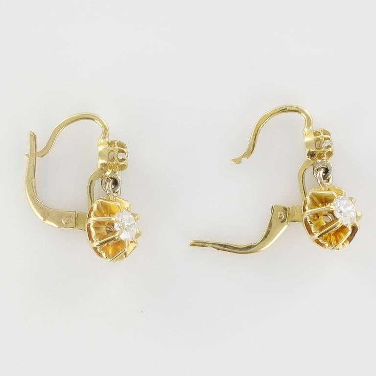 1950s French Diamond Gold Dangle Earrings  6