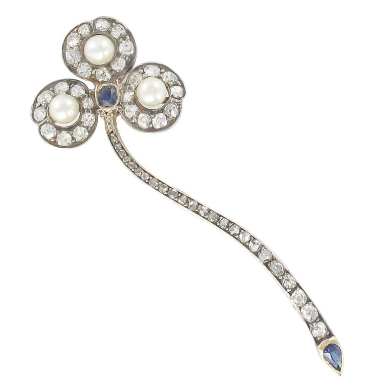 Antique French Fine Pearl Sapphire Diamond Gold Brooch