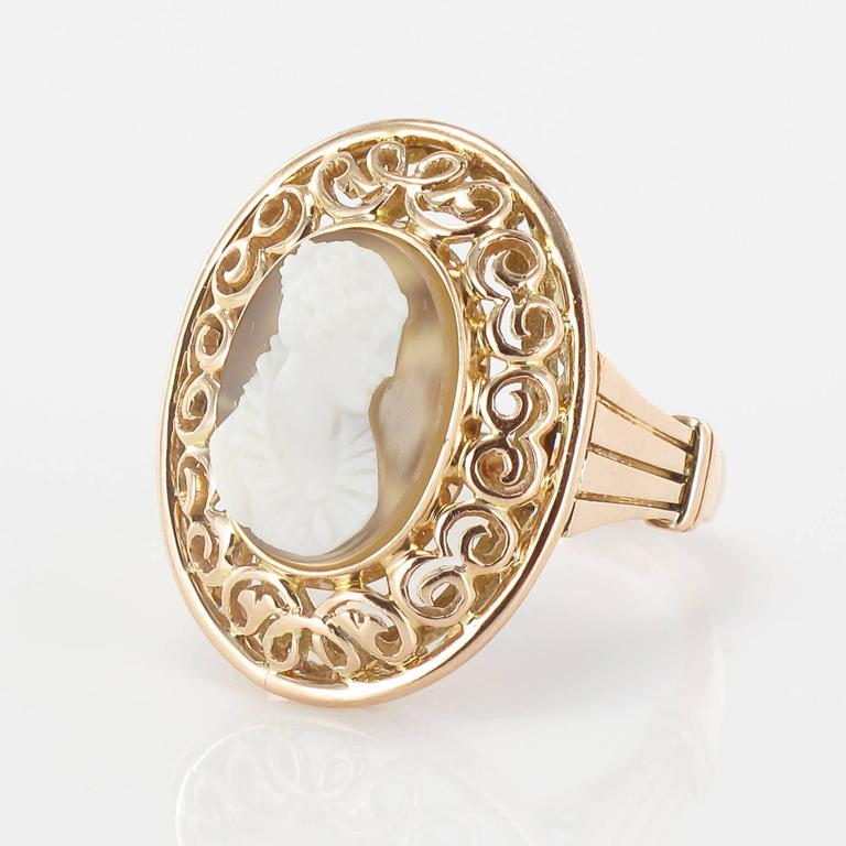 Romantic Early 20th French Antique Gold Cameo Ring  For Sale