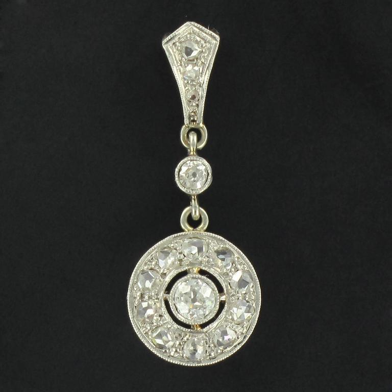 1920s Art Deco Diamond Gold Pendant  2