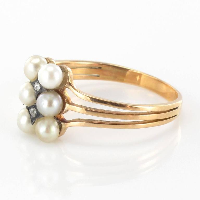 1840s French Antique Fine Pearl Rose Cut Diamond Gold Ring For Sale at 1stdibs