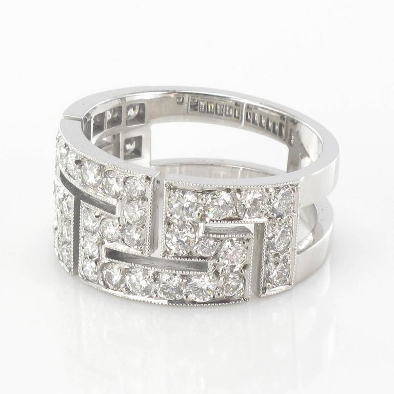 Art Deco French Diamond Gold Band Ring For Sale