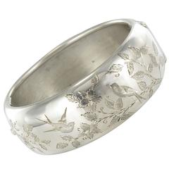 1920s Antique Engraved Silver Bangle Bracelet