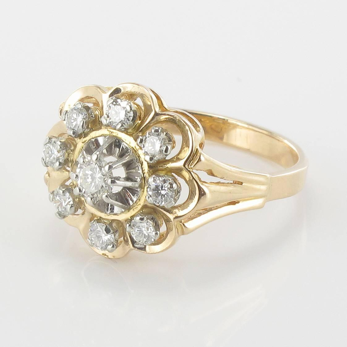 1960s French Diamond Gold Platinum Ring For Sale at 1stdibs