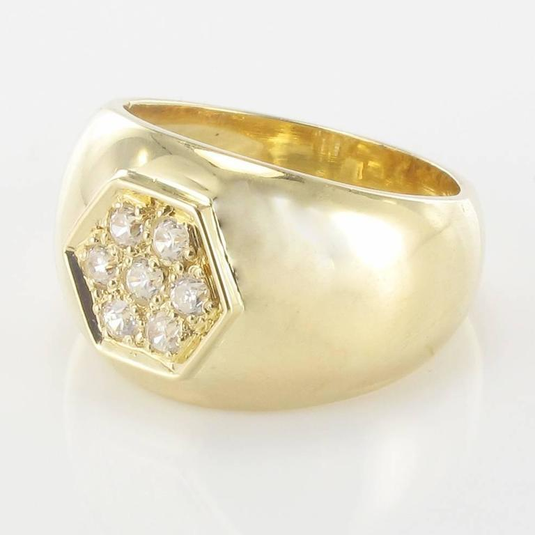 Contemporary New Wide Diamond Gold Band Ring  For Sale