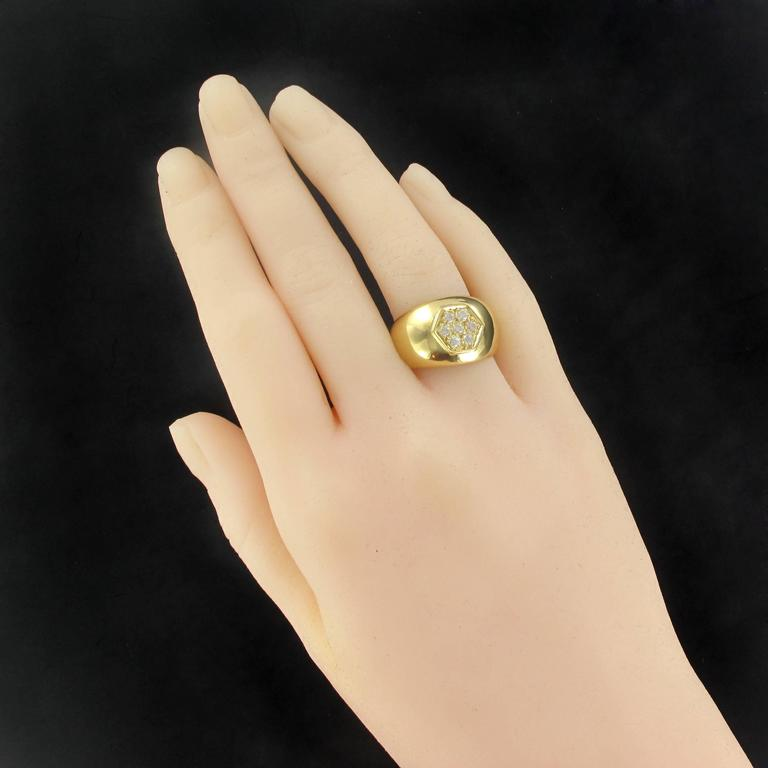 New Wide Diamond Gold Band Ring  In New Condition For Sale In Poitiers, FR