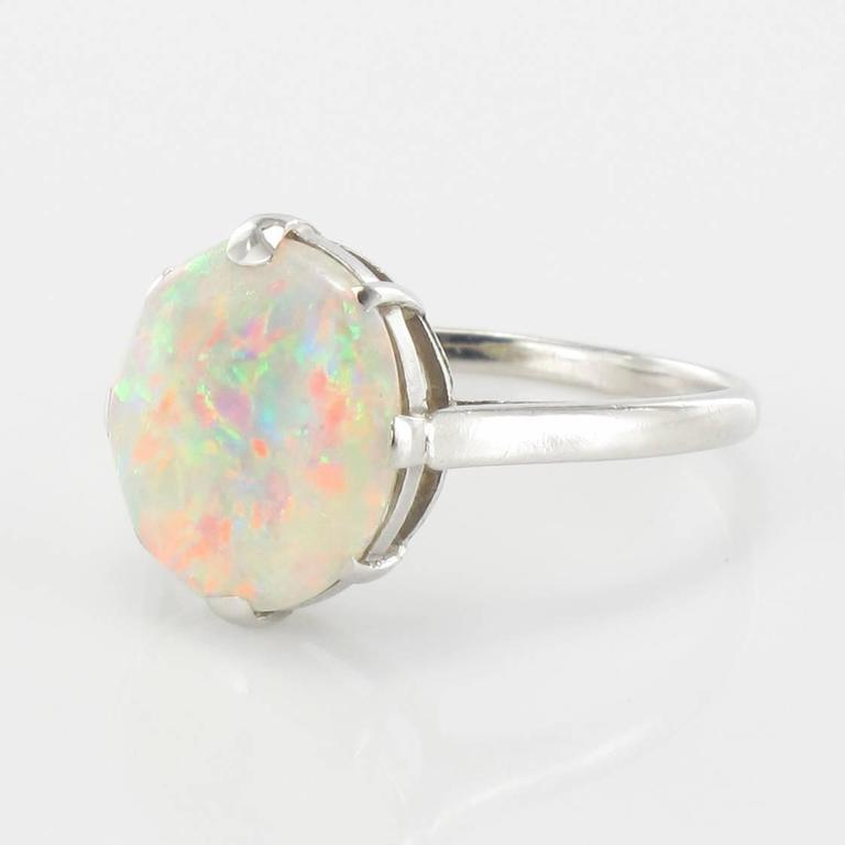 French Art Deco Opal Platinum Ring 3
