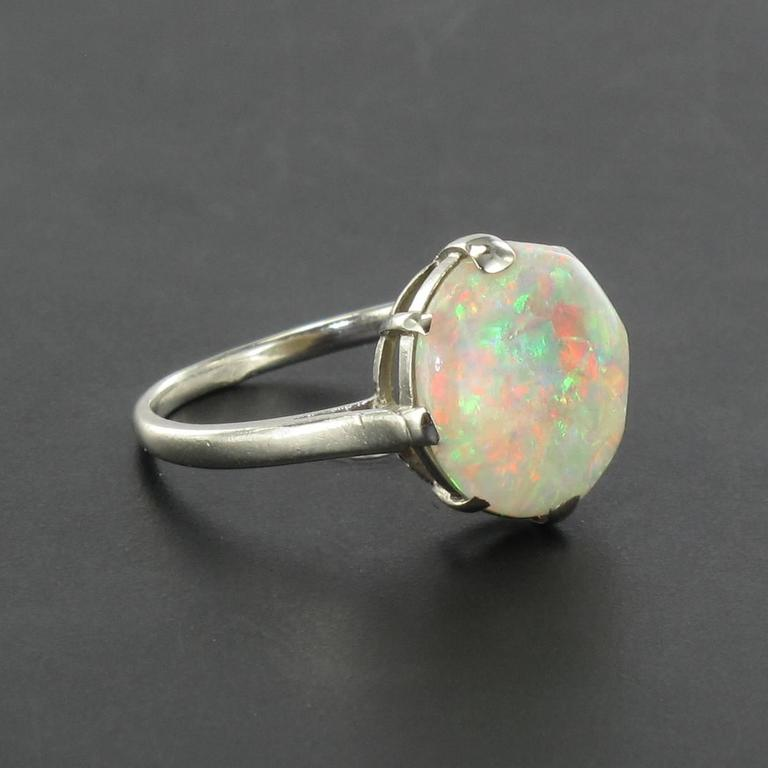 French Art Deco Opal Platinum Ring 5