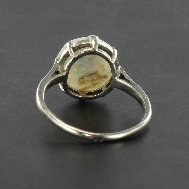 French Art Deco Opal Platinum Ring 6