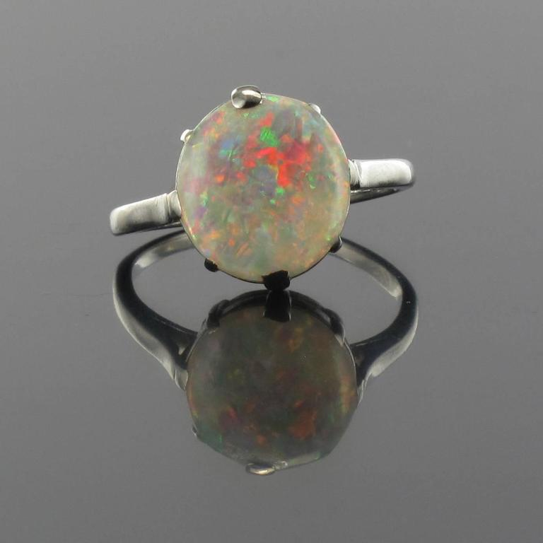 French Art Deco Opal Platinum Ring 2