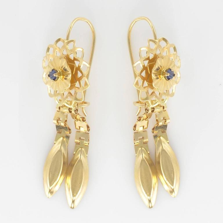 1960s Retro Sapphire and Gold Earrings  For Sale 2
