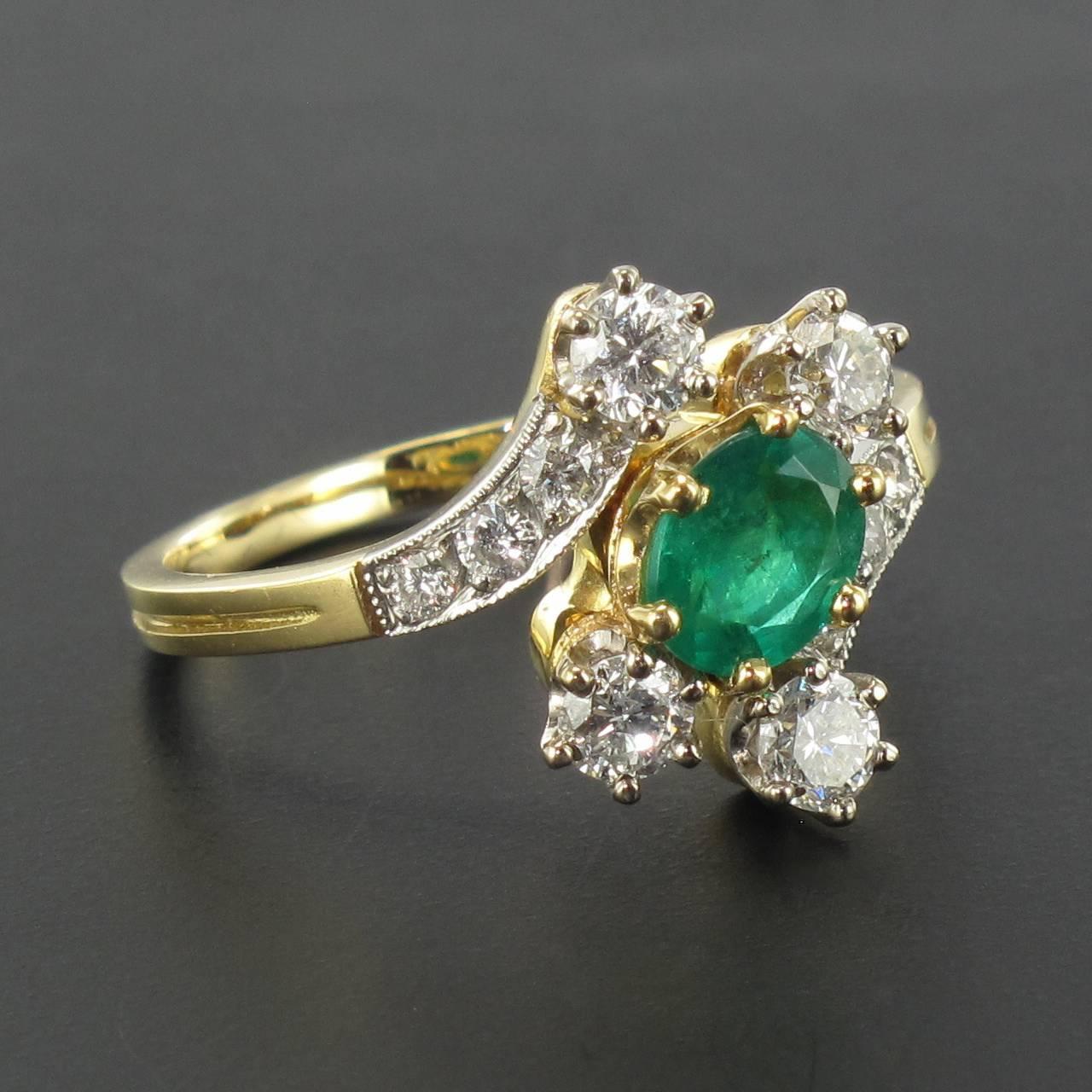 modern emerald gold platinum ring for sale