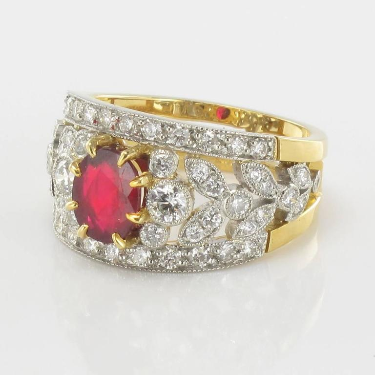French Ruby Diamond Gold Platinum Band Ring  3