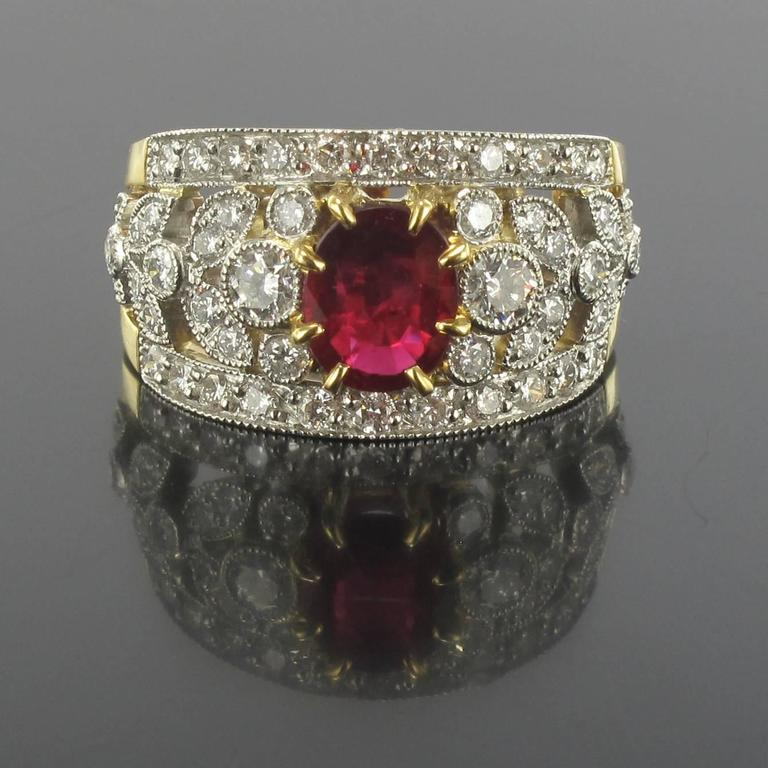 French Ruby Diamond Gold Platinum Band Ring  2
