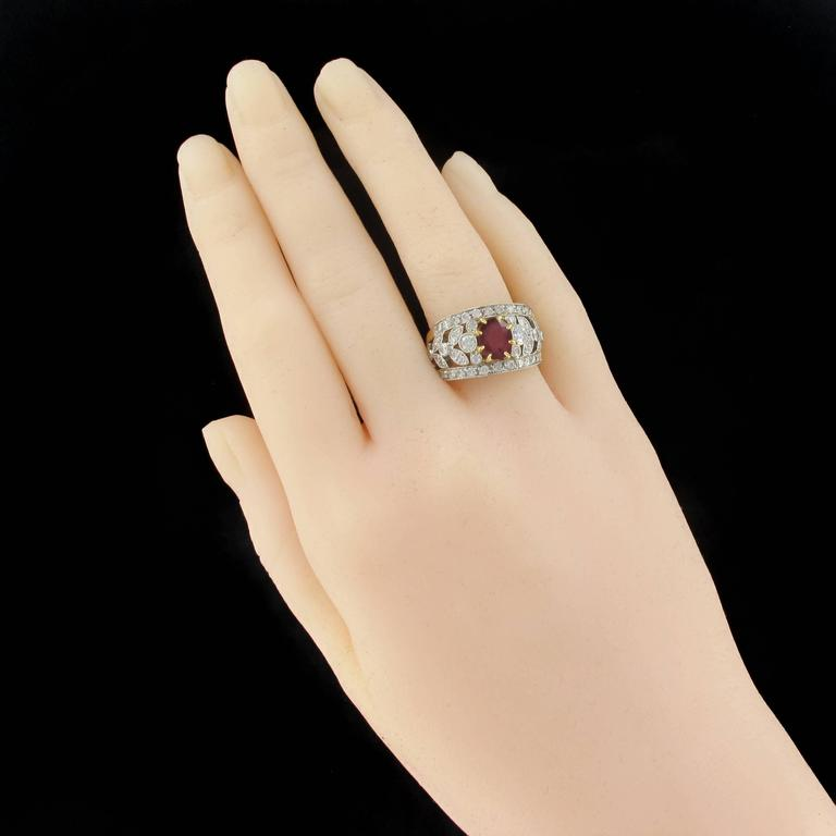 French Ruby Diamond Gold Platinum Band Ring  4