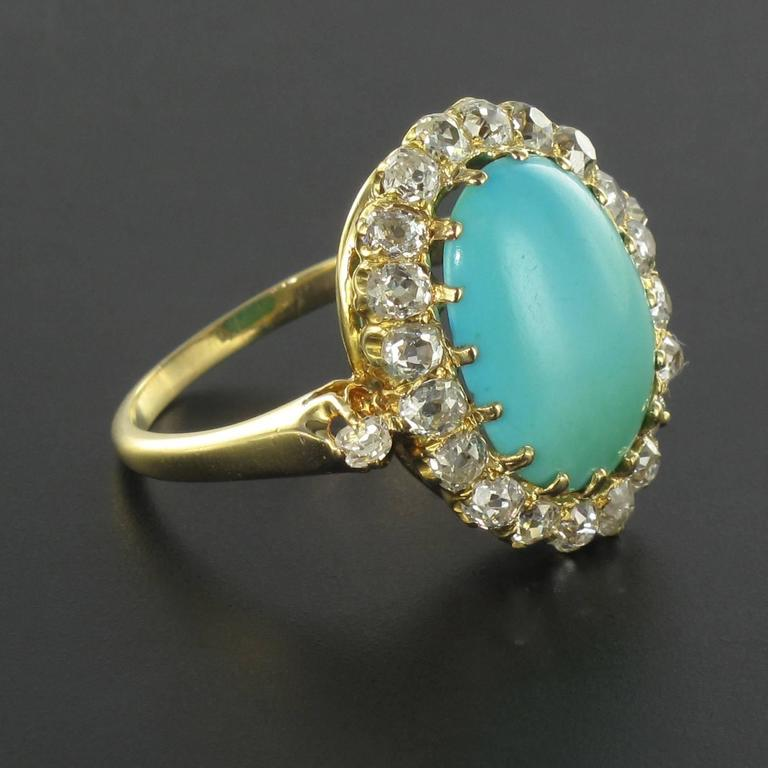 Women's Antique Turquoise Cabochon Diamond Gold Ring For Sale