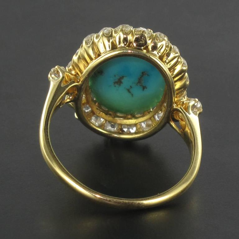 Antique Turquoise Cabochon Diamond Gold Ring For Sale 1