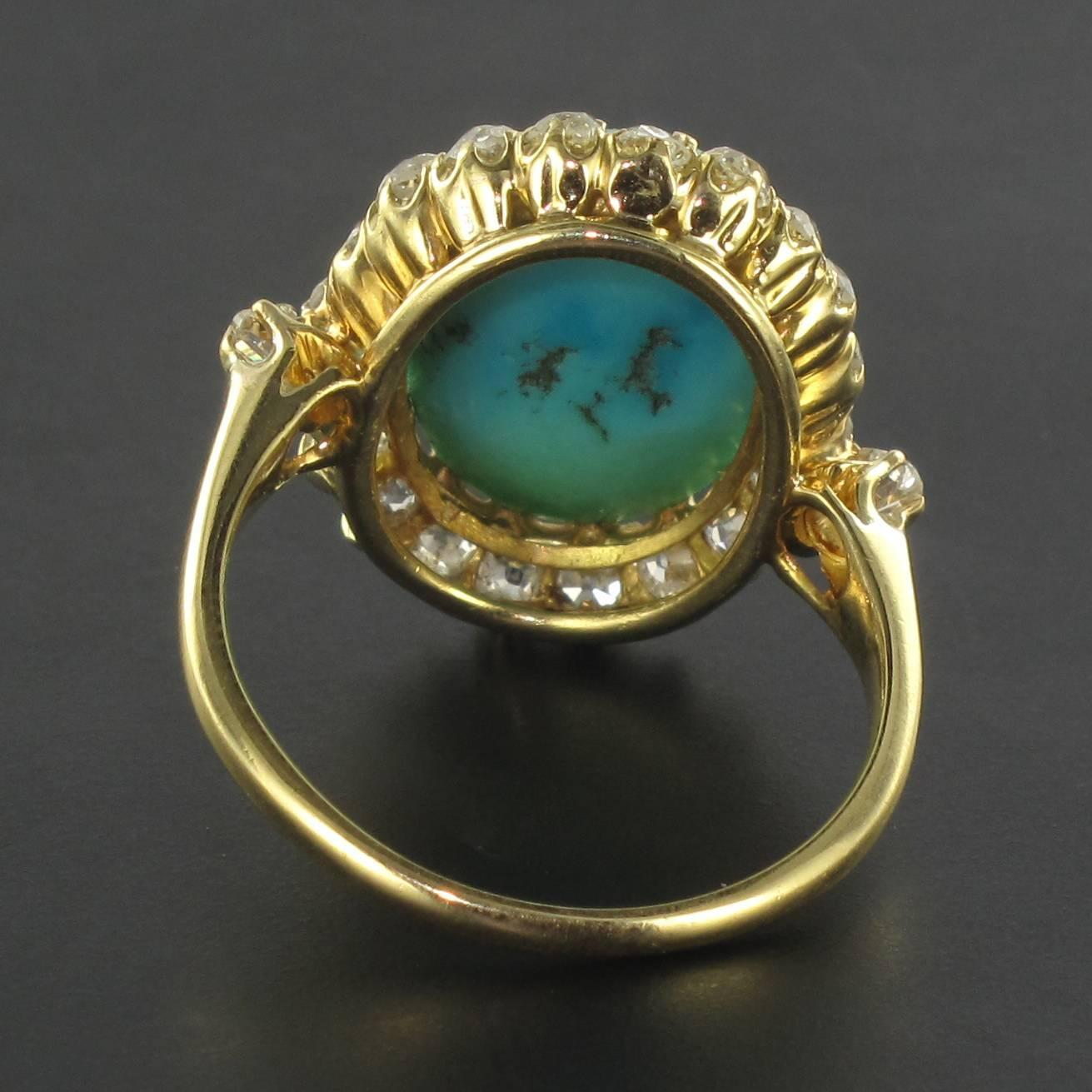 Antique Turquoise Cabochon Diamond Gold Ring For Sale At