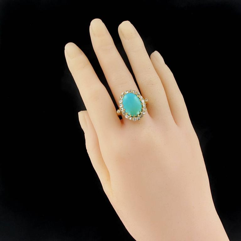 Antique Turquoise Cabochon Diamond Gold Ring In Excellent Condition For Sale In Poitiers, FR