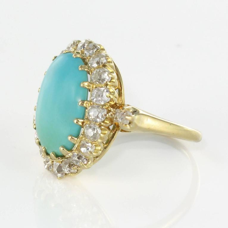 Napoleon III Antique Turquoise Cabochon Diamond Gold Ring For Sale
