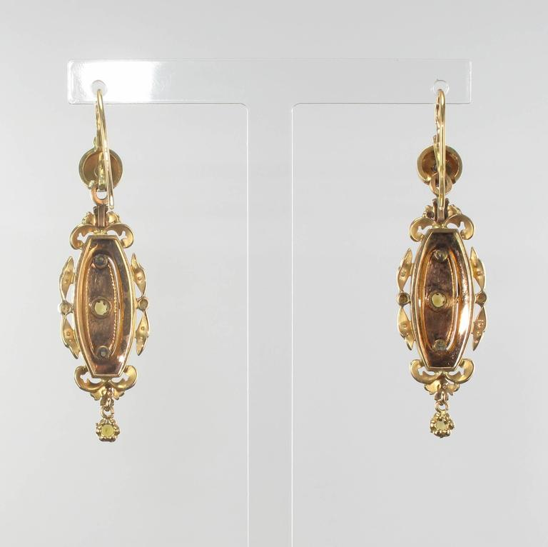 French Napoleon III Fine Pearl Gold Dangle Earrings and Pendant Parure  7
