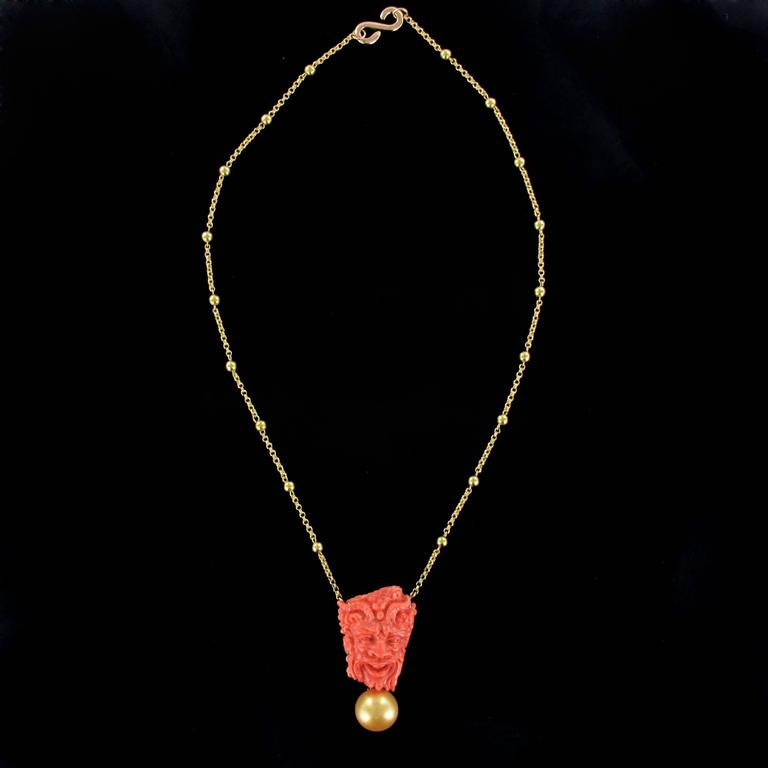 Coral Cameo South Sea Pearl Yellow Gold Necklace For Sale 3
