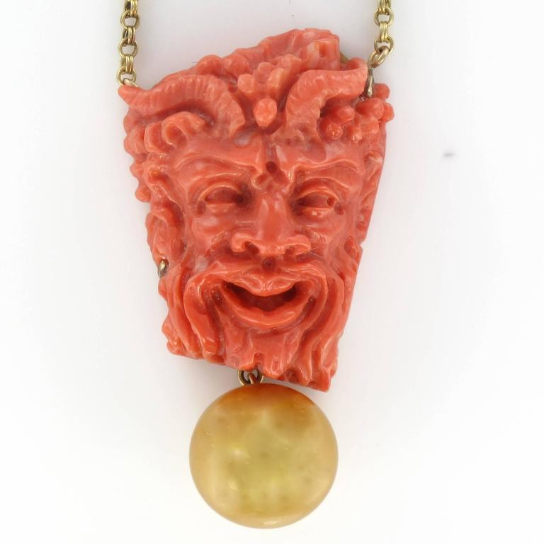 Coral Cameo South Sea Pearl Yellow Gold Necklace In As New Condition For Sale In Poitiers, FR