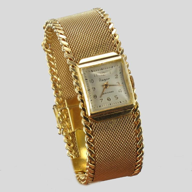 Women's Flamor Ladies Yellow Gold Manual Wind Wristwatch For Sale