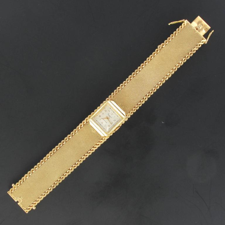 Flamor Ladies Yellow Gold Manual Wind Wristwatch In Excellent Condition For Sale In Poitiers, FR