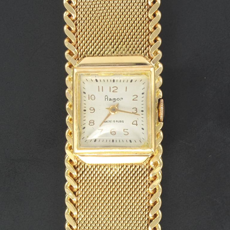 Flamor Ladies Yellow Gold Manual Wind Wristwatch For Sale 1