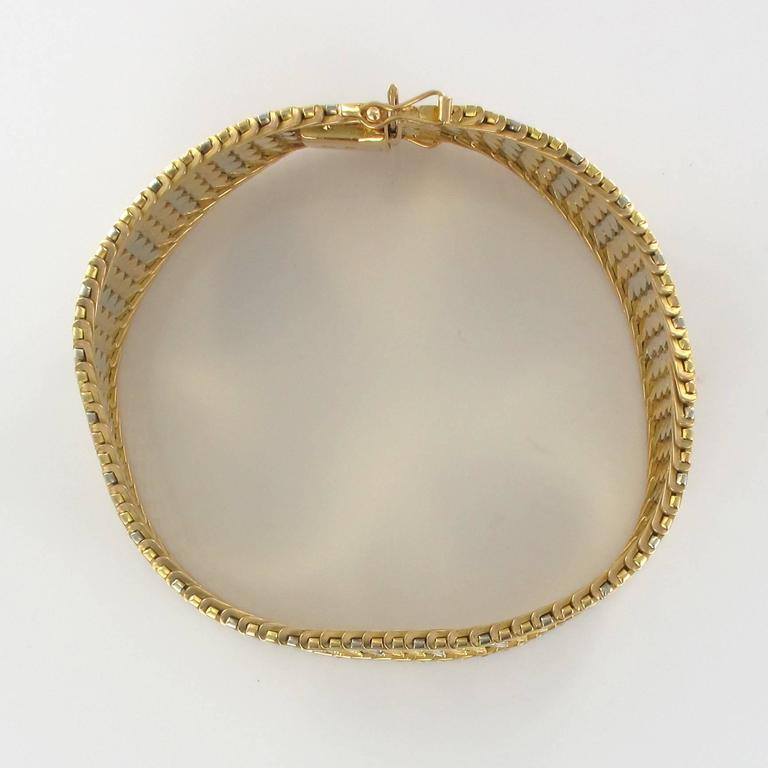 1960s Two Color Gold Woven Bracelet  For Sale 3