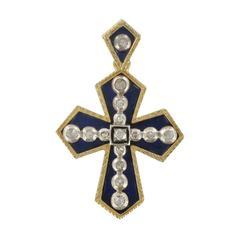 Blue Enamel and Diamond Cross Pendant