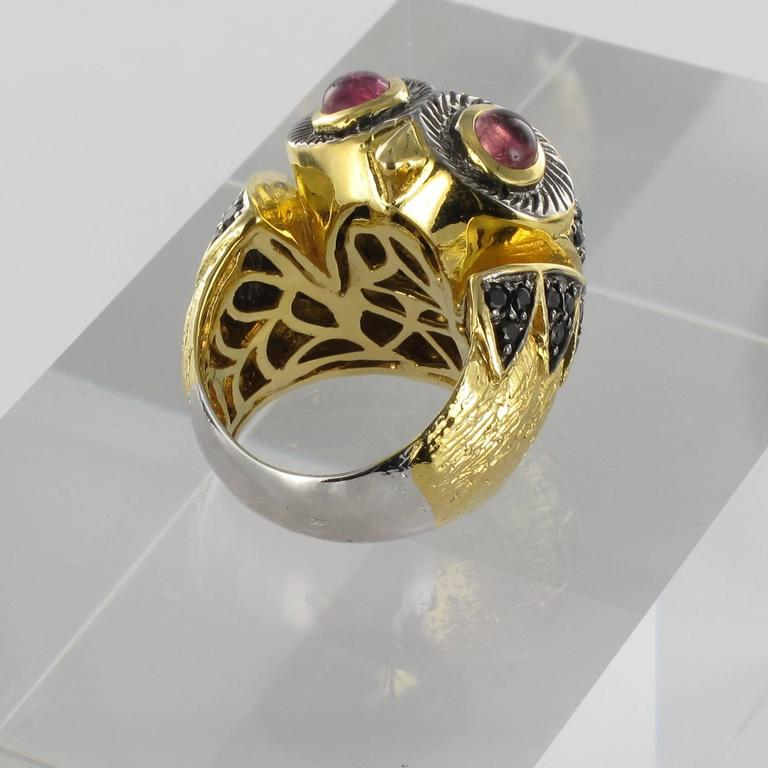 New Black Spinel and Tourmaline Cabochon Owl Ring In As new Condition For Sale In Poitiers, FR