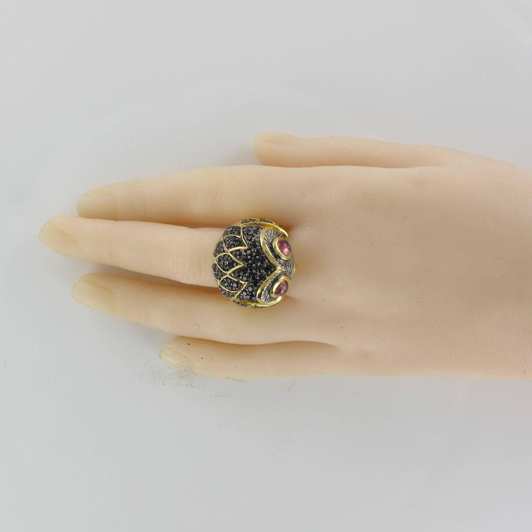Contemporary New Black Spinel and Tourmaline Cabochon Owl Ring For Sale