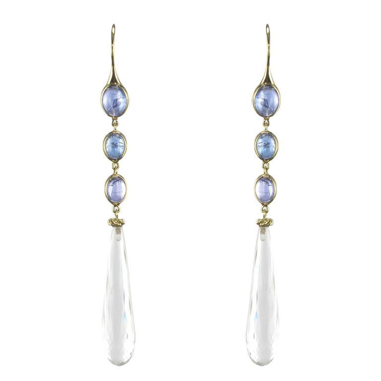 New Tanzanite and Crystal Quartz Long Dangle Earrings  1