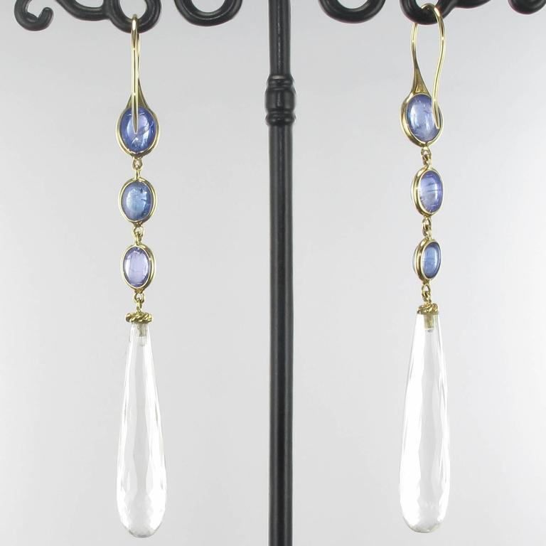 New Tanzanite and Crystal Quartz Long Dangle Earrings  4