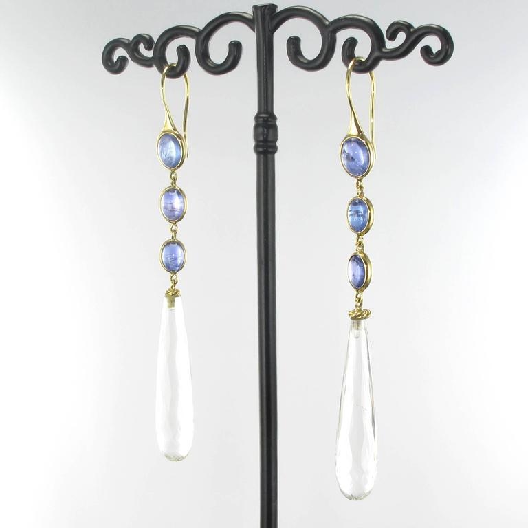 New Tanzanite and Crystal Quartz Long Dangle Earrings  2
