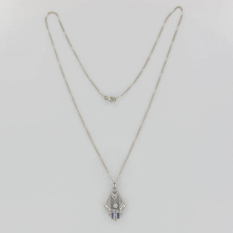 Women's 1925s French Art Deco Diamond Pendant  For Sale