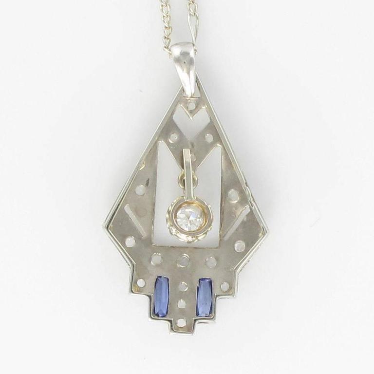 1925s French Art Deco Diamond Pendant  5