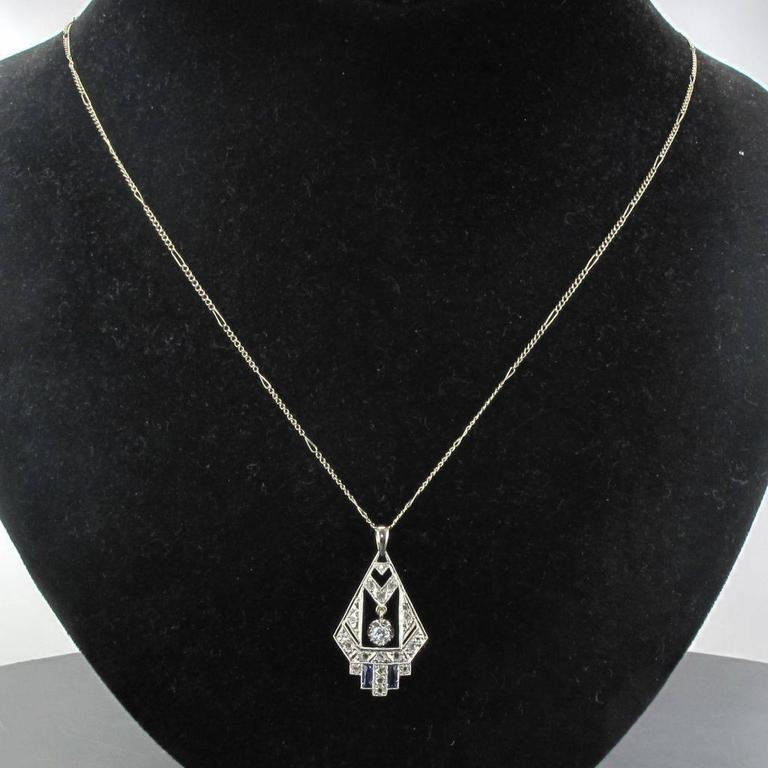 1925s French Art Deco Diamond Pendant  2