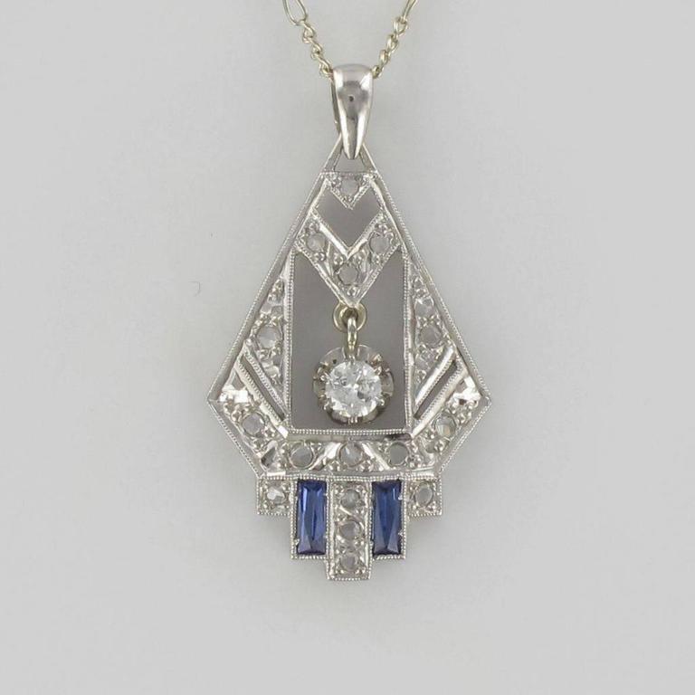 1925s French Art Deco Diamond Pendant  6