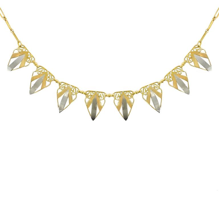 French Art deco Yellow Gold and White Gold Drapery Necklace