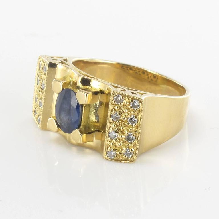 Retro French 1960s Tank Style Sapphire and Diamond Ring  For Sale