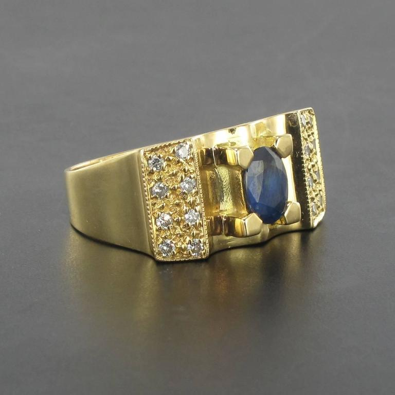 French 1960s Tank Style Sapphire and Diamond Ring  For Sale 1